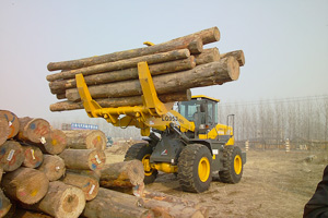 LG953在日照某单位装卸车队正在装卸木头