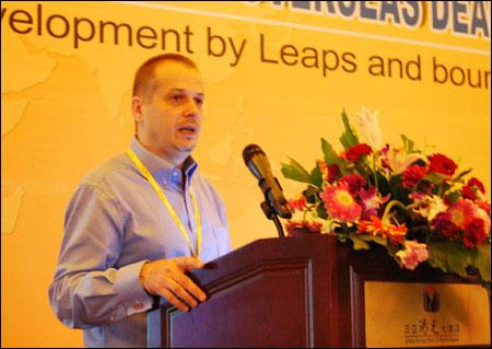 Benoit Rimaz, President of Volvo Construction Equipment (China),delivered a speech