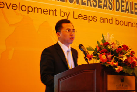 Wang Xiaohui, the vice general manager of SDLG Import & Export Company announced the business policy service of 2012.